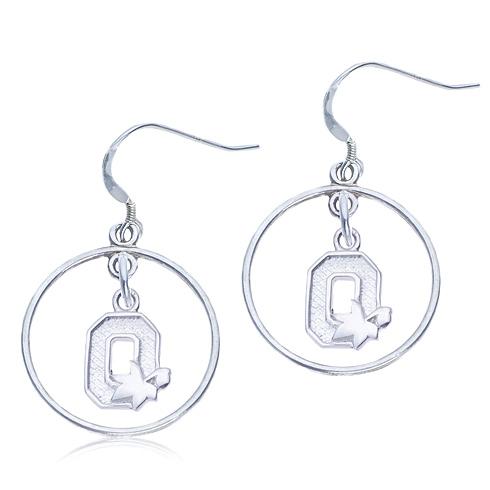 Sterling Silver Open Drop Ohio State Earrings