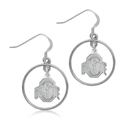 Sterling Silver Ohio State University Open Drop Earrings