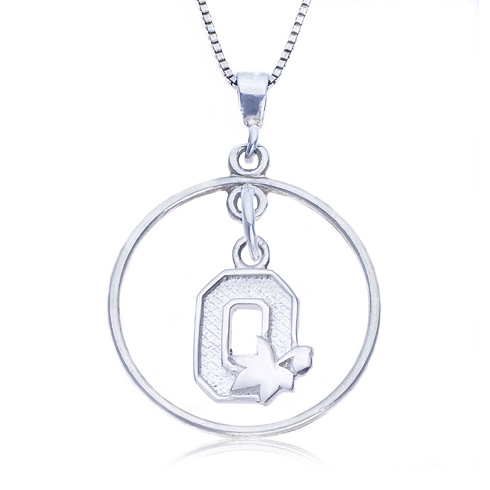 Sterling Silver 16in Open Drop Ohio State Necklace
