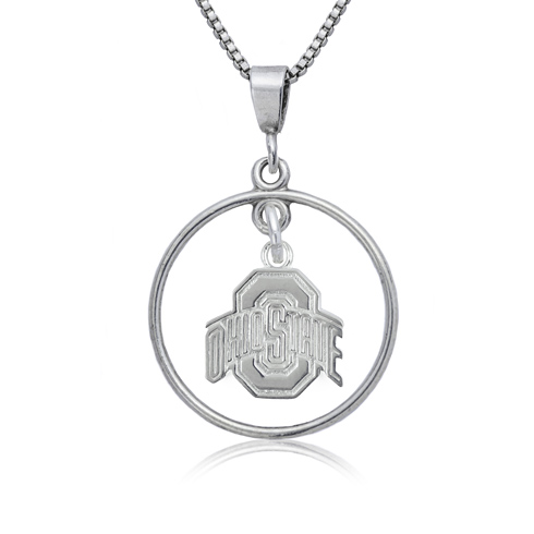 Sterling Silver 16in Ohio State University Open Drop Necklace