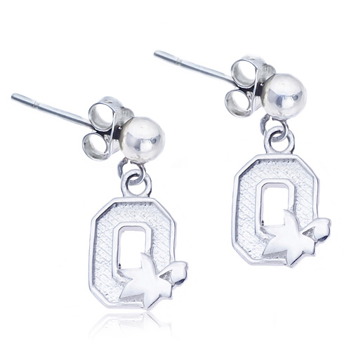 Sterling Silver Post Dangle Ohio State Earrings
