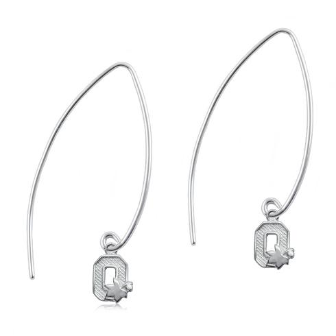 Sterling Silver Ohio State University Long Fishhook Earrings