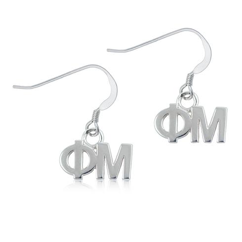Sterling Silver Phi Mu Dangle Earrings