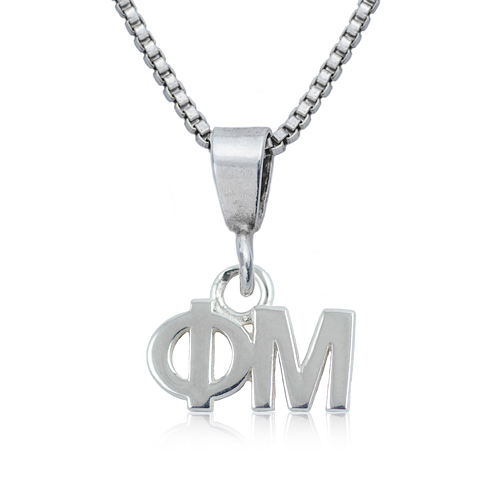 Sterling Silver 16in Phi Mu Charm Necklace