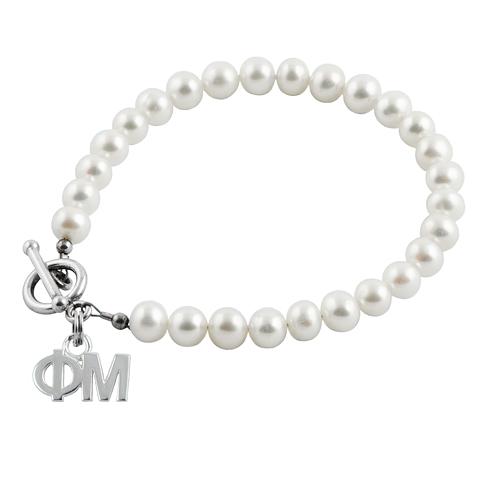 Sterling Silver Phi Mu Pearl Bracelet