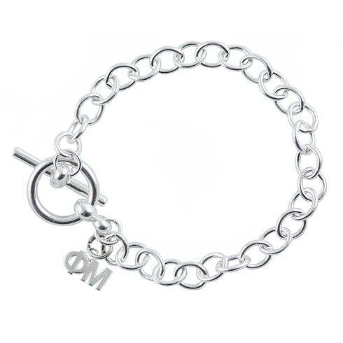 Sterling Silver Phi Mu Link Bracelet