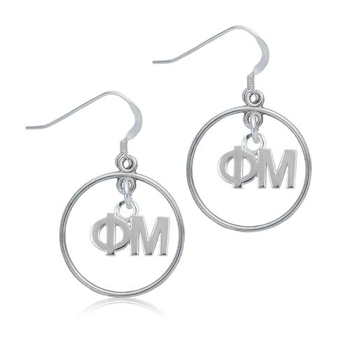 Sterling Silver Phi Mu Open Drop Earrings