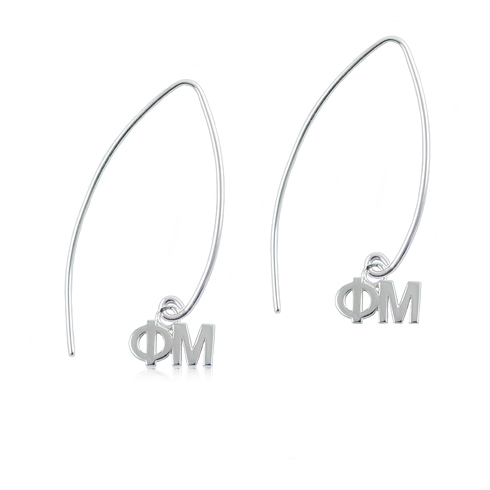 Sterling Silver Phi Mu Long Earrings