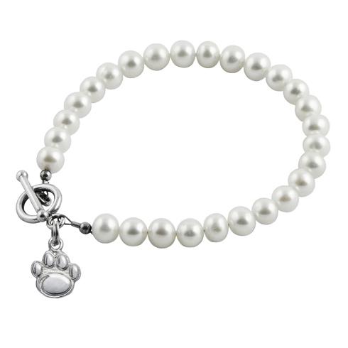 Sterling Silver Penn State University Paw White Pearl Bracelet