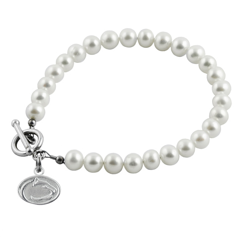 Sterling Silver Penn State University White Pearl Bracelet