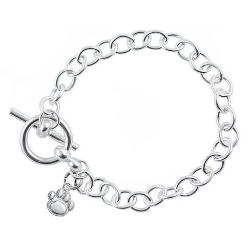 Sterling Silver 7 1/2in Penn State University Paw Link Bracelet