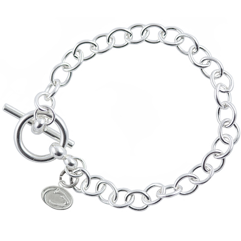 Sterling Silver 7 1/2in Penn State University Lion Link Bracelet