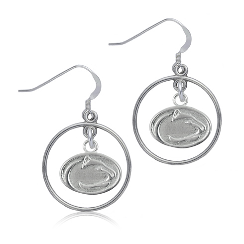 Sterling Silver Penn State University Open Drop Earrings