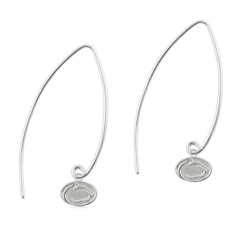 Sterling Silver Penn State University Long Fishhook Earrings