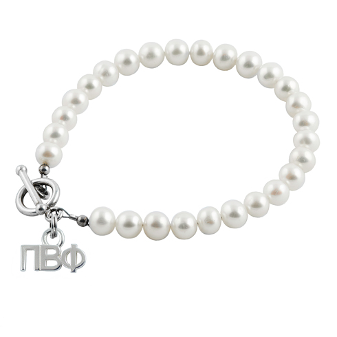 Sterling Silver Pi Beta Phi Pearl Bracelet