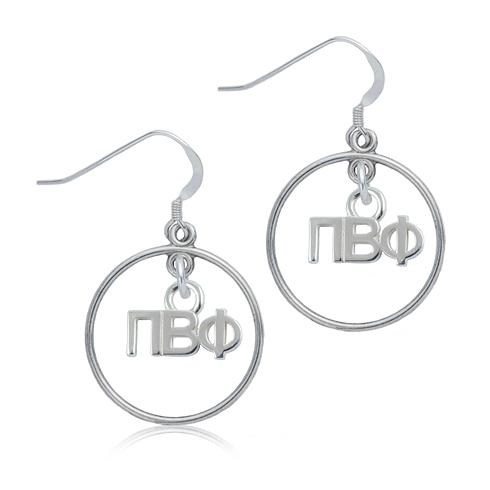 Sterling Silver Pi Beta Phi Open Drop Earrings