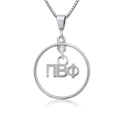 Sterling Silver 16in Pi Beta Phi Open Drop Necklace