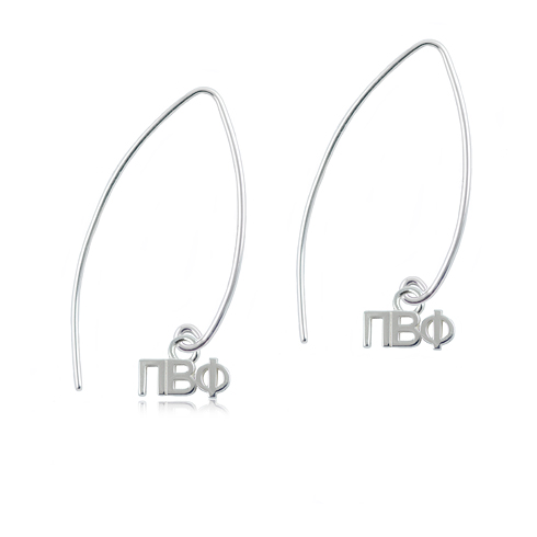 Sterling Silver Pi Beta Phi Long Earrings