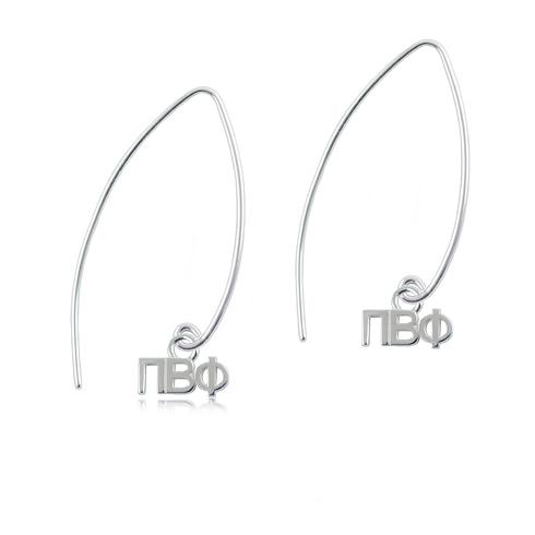 Sterling Silver Pi Beta Phi Long Earrings