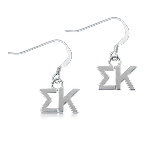 Sterling Silver Sigma Kappa Dangle Earrings