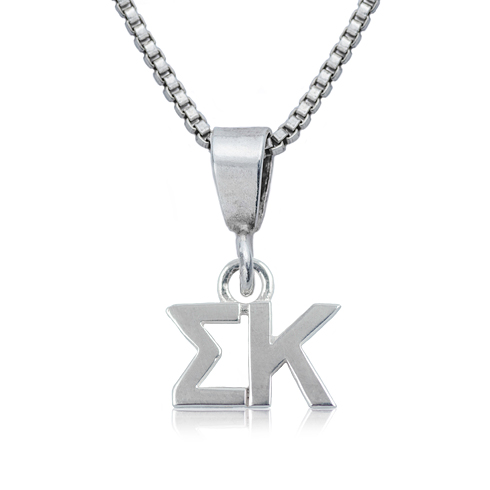 Sterling Silver 16in Sigma Kappa Charm Necklace