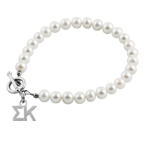Sterling Silver Sigma Kappa Pearl Bracelet