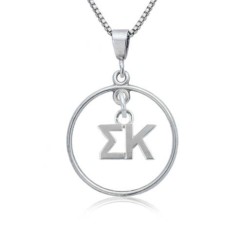 Sterling Silver 16in Sigma Kappa Open Drop Necklace