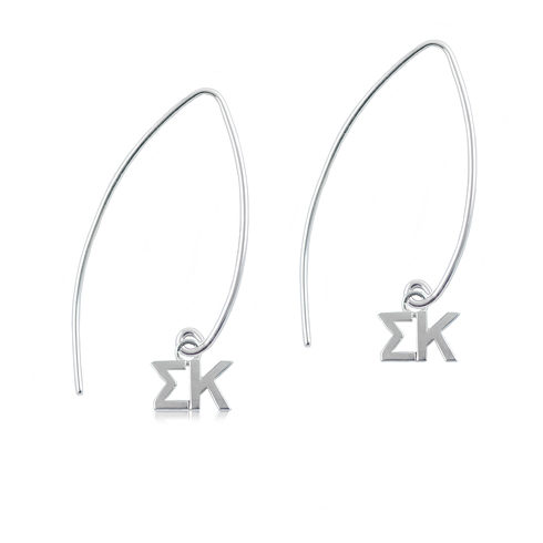 Sterling Silver Sigma Kappa Long Earrings