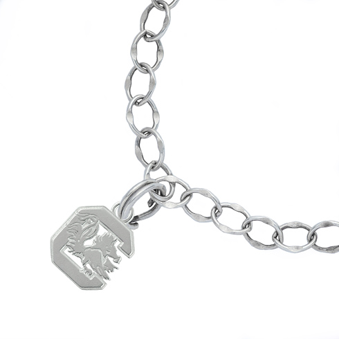 Sterling Silver 7 1/2in University of South Carolina C Charm Bracelet
