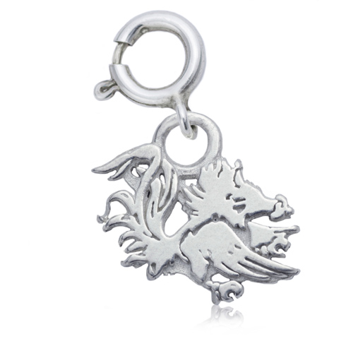 Sterling Silver 3/8in University of South Carolina Gamecock Charm
