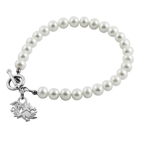 Sterling Silver South Carolina Gamecocks White Pearl Bracelet