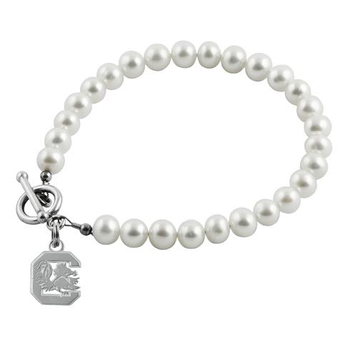 Sterling Silver South Carolina C White Pearl Bracelet