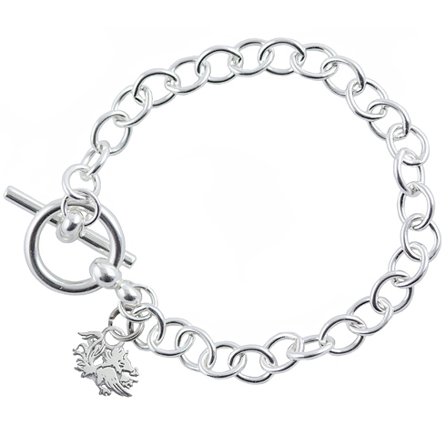 Sterling Silver 7 1/2in University of South Carolina C Link Bracelet