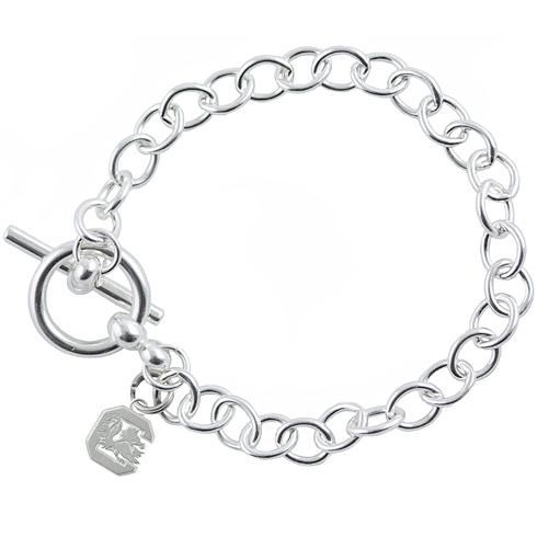 Sterling Silver 7 1/2in University of South Carolina Gamecock Link Bracelet