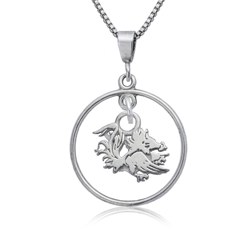 Sterling Silver 16in Open Drop South Carolina Necklace