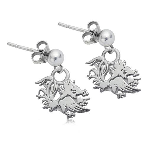 Sterling Silver South Carolina Gamecocks Dangle Earrings
