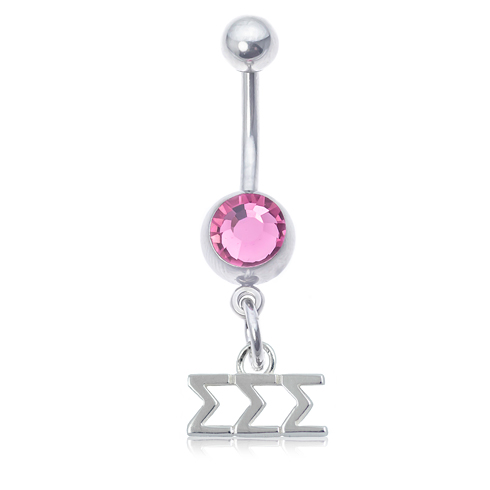 Sigma Sigma Sigma Pink Belly Button Ring