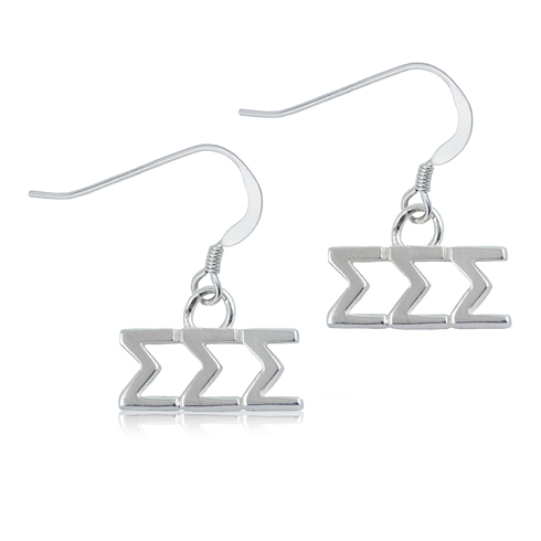 Sterling Silver Sigma Sigma Sigma Dangle Earrings