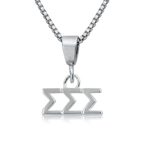 Sterling Silver 16in Sigma Sigma Sigma Charm Necklace