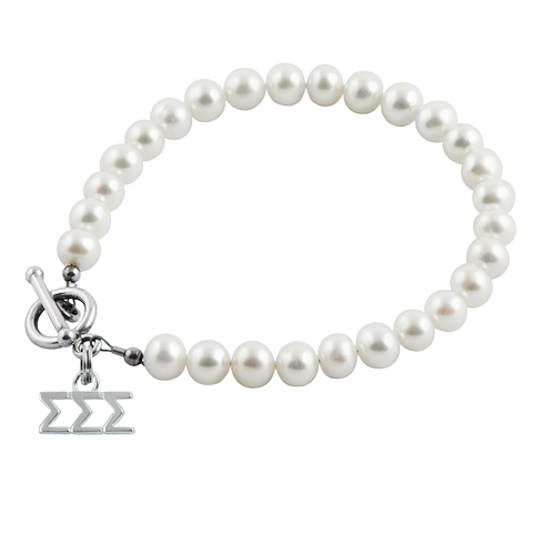 Sterling Silver Sigma Sigma Sigma Pearl Bracelet