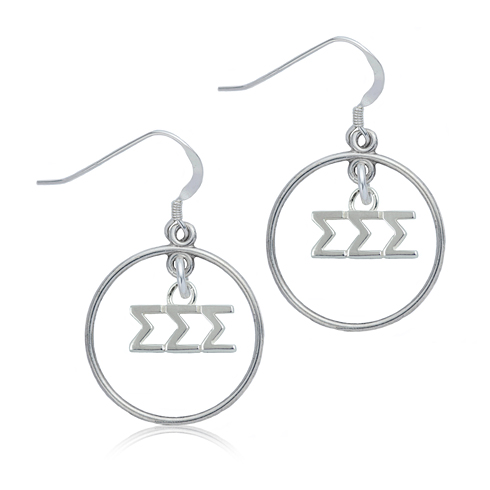 Sterling Silver Sigma Sigma Sigma Open Drop Earrings