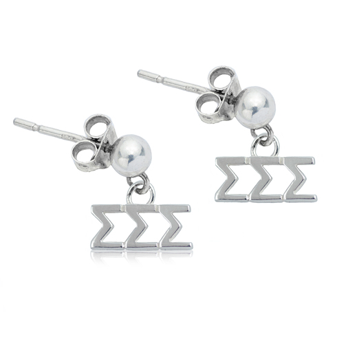 Sterling Silver Sigma Sigma Sigma Post Earrings