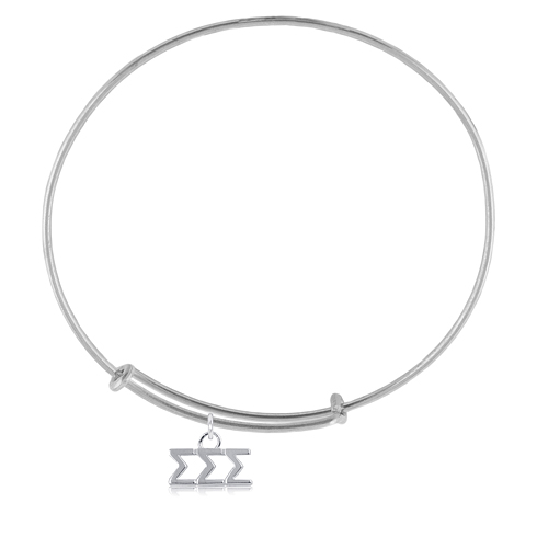 Sterling Silver Sigma Sigma Sigma Adjustable Charm Bracelet
