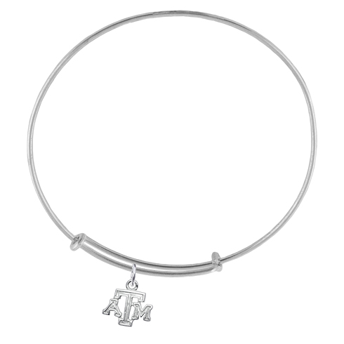 Sterling Silver Texas A&M University Charm Adjustable Bracelet