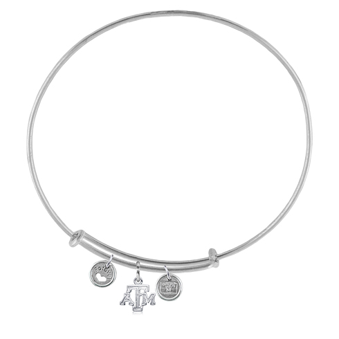 Sterling Silver Texas A&M University Adjustable Bracelet with Charms