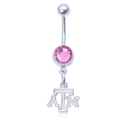 Texas A&M University Pink Belly Button Ring