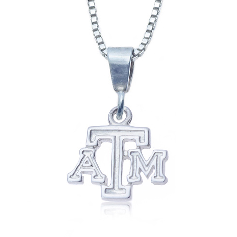 Sterling Silver 16in Charm Texas A&M Necklace