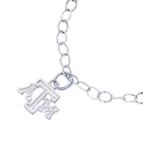 Sterling Silver Charm Texas A&M University Bracelet