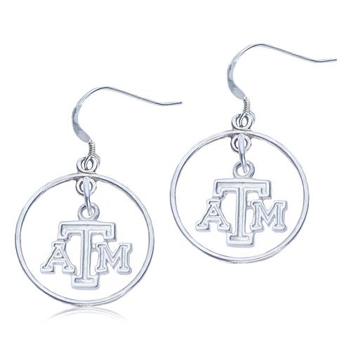 Sterling Silver Open Drop Texas A&M Earrings