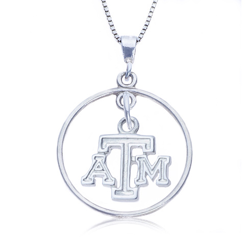 Sterling Silver 16in Open Drop Texas A&M Necklace